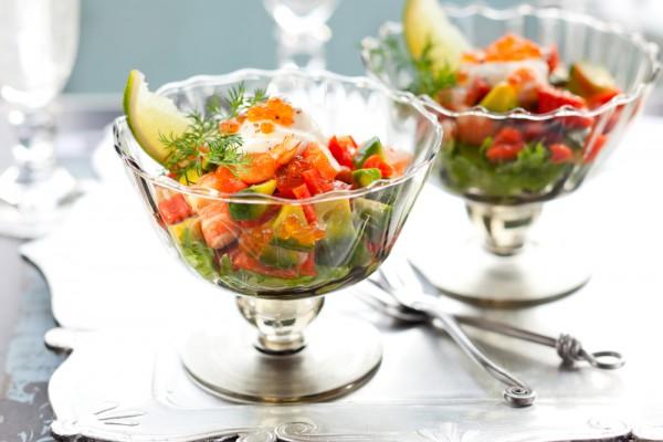 Рецепт                  Рецепты на День Валентина: Салат-коктейль из креветок и авокадо