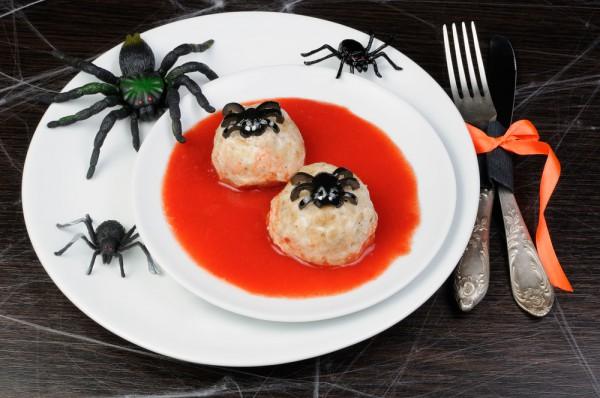 Рецепт                  Рецепты на Хэллоуин: Мясные шарики Паучки
