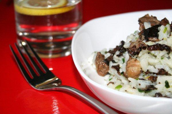 Рецепт                  Рис с зеленым луком и грибами