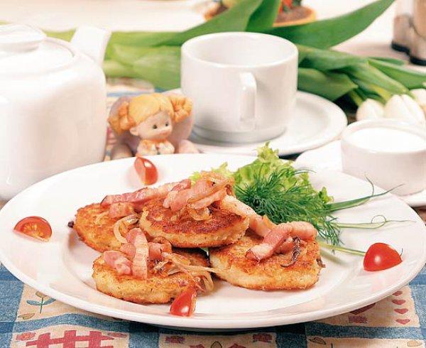 Рецепт                  Деруны, фаршированные грибами и сыром