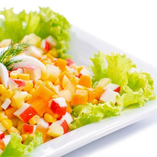 Рецепт                  Салат из крабовых палочек с кукурузой и морковью