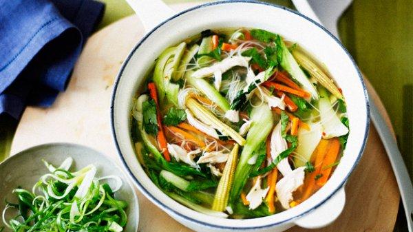Рецепт                  Куриный суп с рисовой лапшой в китайском стиле