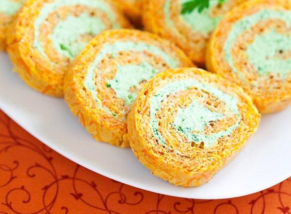 Рецепт                  Морковный рулет с начинкой из сливочного сыра и зелени
