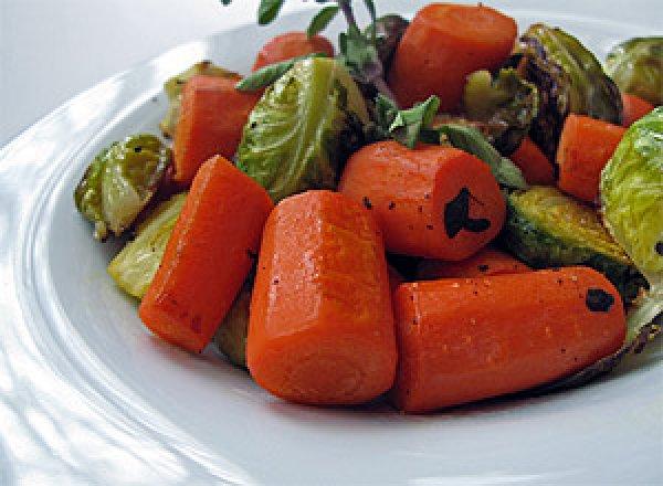 Рецепт                  Запеченная брюссельская капуста с овощами