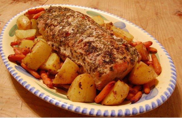 Рецепт                  Свинина с овощами и белым вином