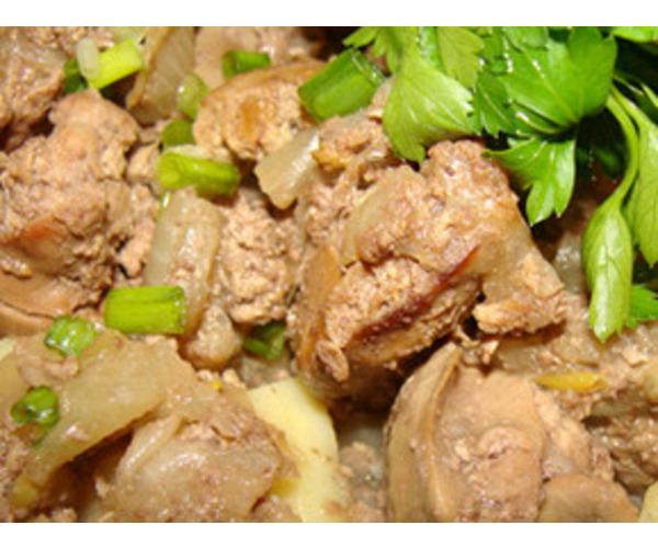 Рецепт                  Куриная печень в сметане