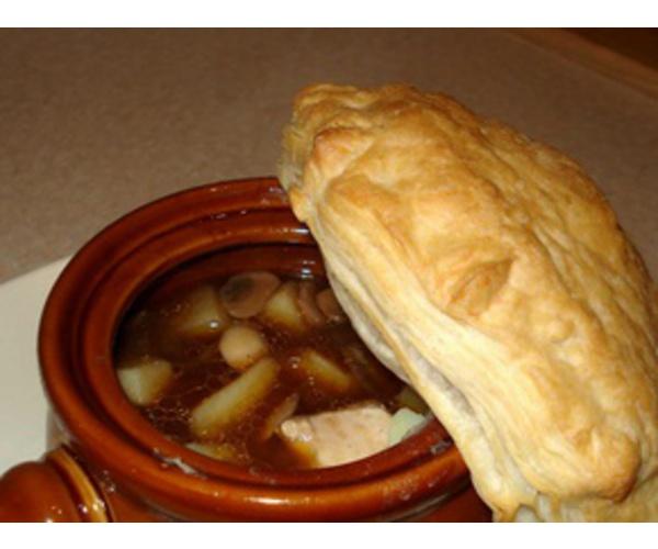 Рецепт                  Густой куриный суп в горшочке