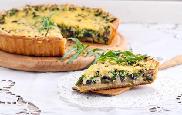 Рецепт                  Пирог с шампиньонами и рукколой