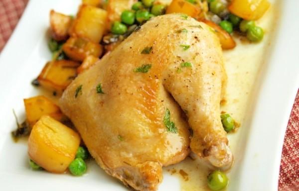 Рецепт                  Курица с картофелем и зеленым горошком