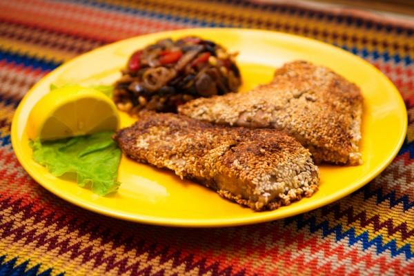 Рецепт                  Жареная рыба в кунжуте