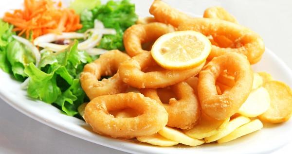 Рецепт                  Жареные кольца кальмаров