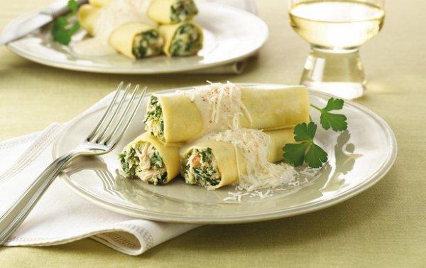 Рецепт                  Каннелони со шпинатом и сливочным соусом