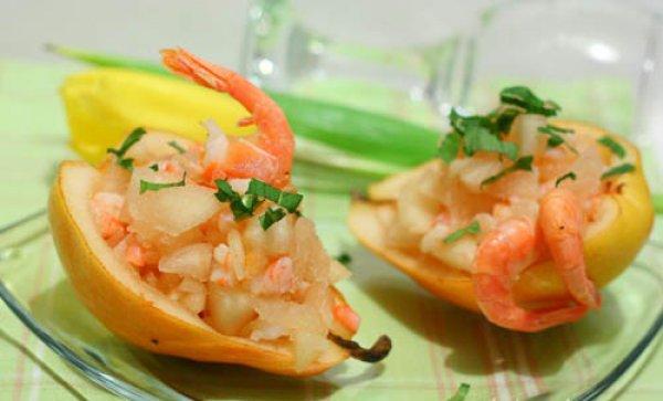 Рецепт                  Салат из груши с креветками