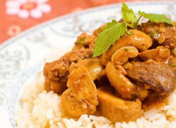 Рецепт                  Куриная печень с грибами