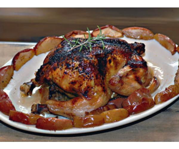 Рецепт                  Жареная курица с печеными яблоками