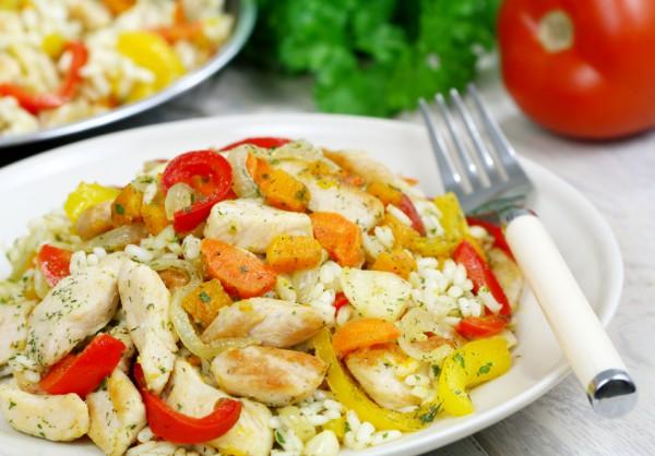 Рецепт                  Ризотто с курицей и овощами