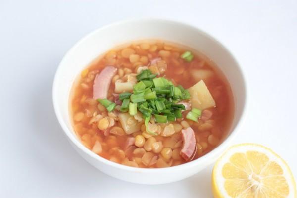 Рецепт                  Гороховый суп с помидорами и беконом