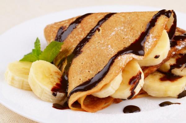 Рецепт                  Масленица 2015: Блины с бананом и шоколадом