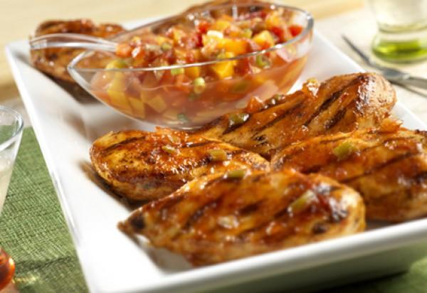 Рецепт                  Куриное филе на гриле с персиками