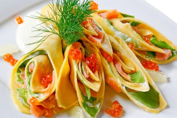 Рецепт                  Масленица 2015: Блины с лососем и шпинатом