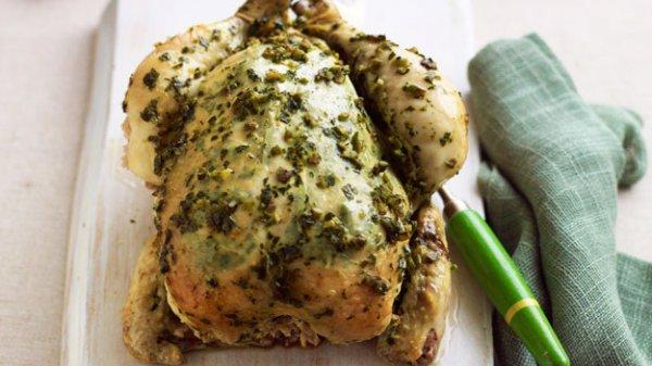 Рецепт                  Запеченная курица с лимоном, чесноком и пряными травами