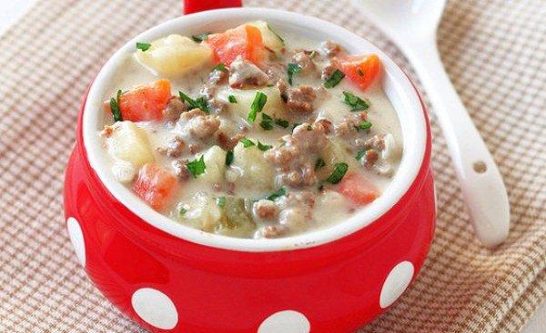Рецепт                  Суп с говяжьим фаршем и плавленым сыром