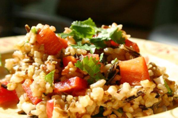 Рецепт                  Постный рисовый салат с овощами