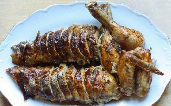 Рецепт                  Запеченная курица с картофелем и грибами