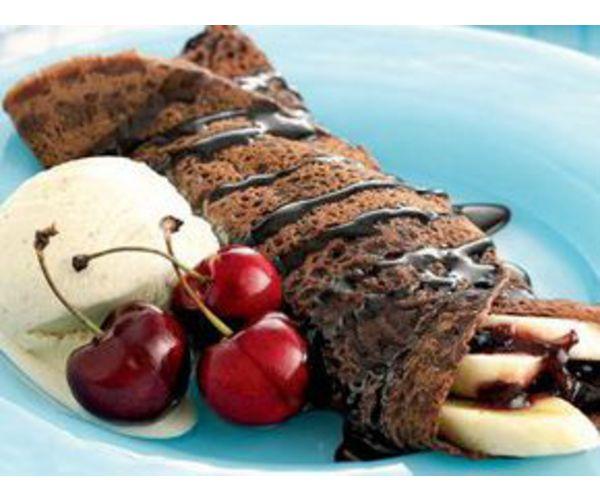 Рецепт                  Шоколадные блины с бананом и шоколадной помадкой