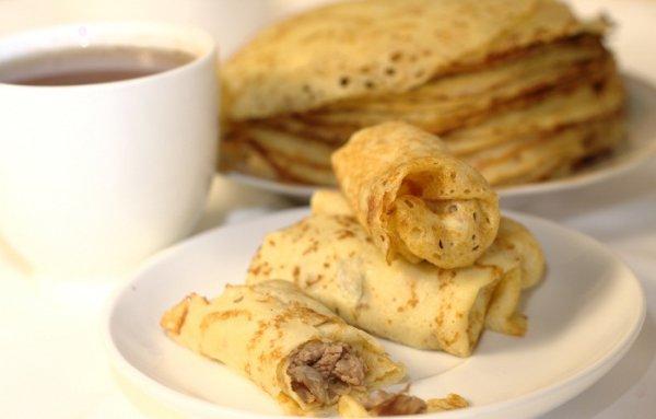 Рецепт                  Блины с шампиньонами и сыром от Юлии Высоцкой
