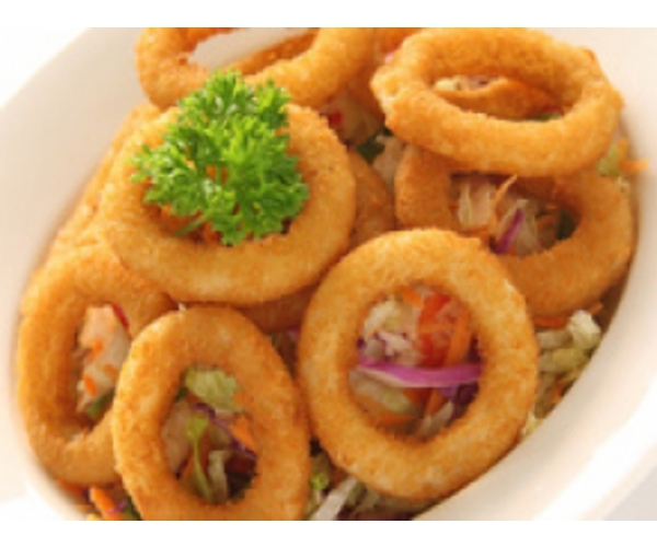 Рецепт                  Кольца кальмара с салатом