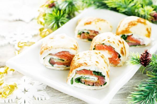 Рецепт                  Рецепты на Новый год: Блинные роллы с лососем