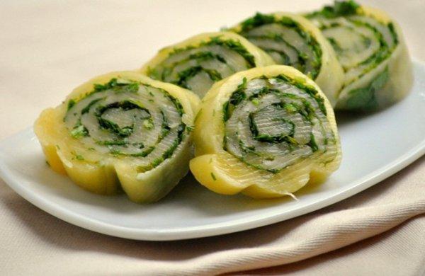 Рецепт                  Сырный рулет с зеленью