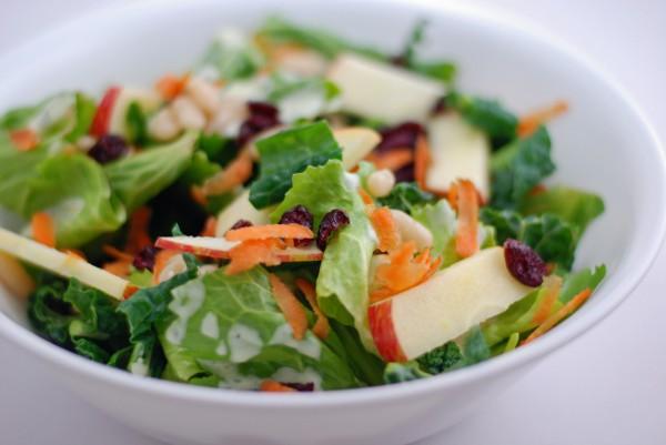 Рецепт                  Осенний салат из яблок с сушеной клюквой