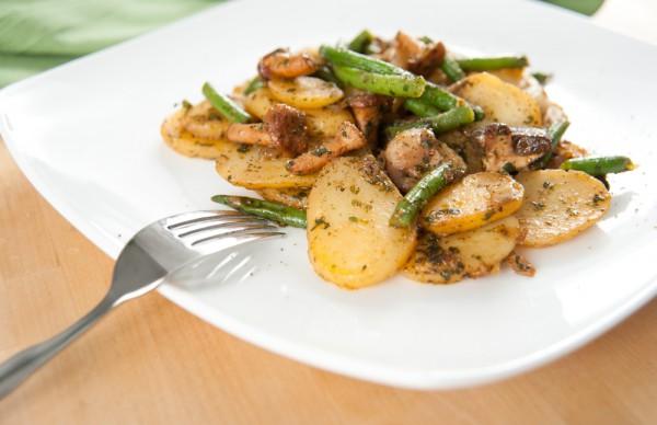 Рецепт                  Постные рецепты: Жареный картофель с грибами и фасолью