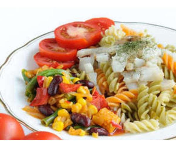 Рецепт                  Паста с овощами и рыбой