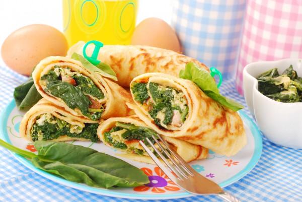 Рецепт                  Блины с яично-шпинатной начинкой