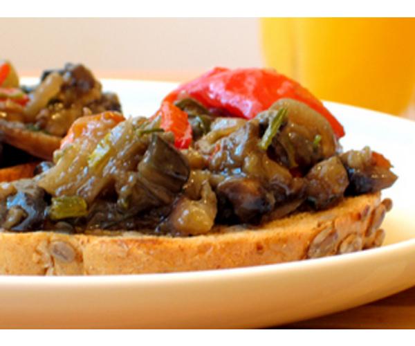 Рецепт                  Острые баклажаны с грибами и сладким перцем