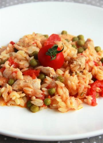 Рецепт                  Орзо с курицей и помидорами
