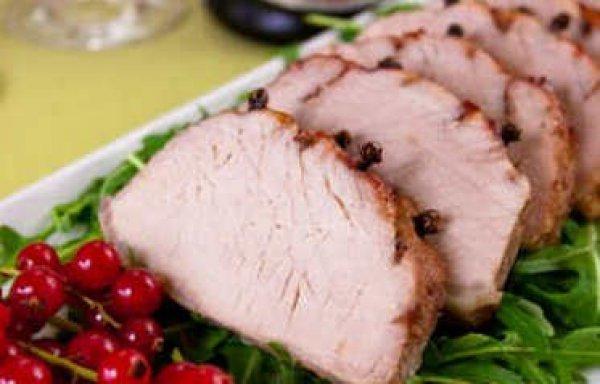 Рецепт                  Запеченная свинина с брусничным джемом и гвоздикой