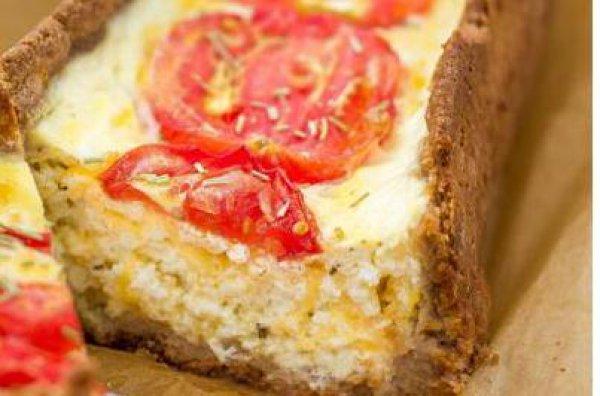 Рецепт                  Творожный киш с сыром и помидорами