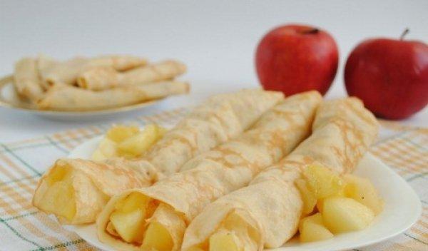 Рецепт                  Блинчики с яблочной начинкой