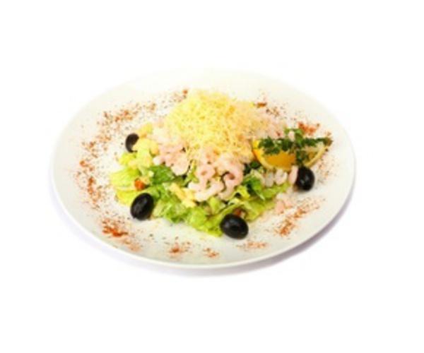 Рецепт                  Салат с креветками и сыром