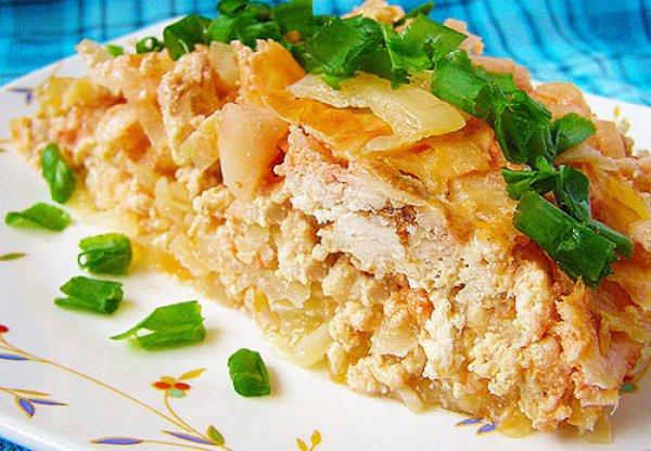 Рецепт                  Запеканка из капусты с куриным фаршем