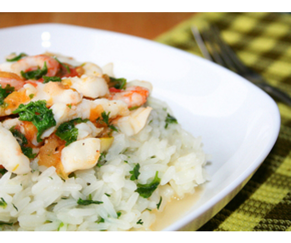 Рецепт                  Рис с морепродуктами