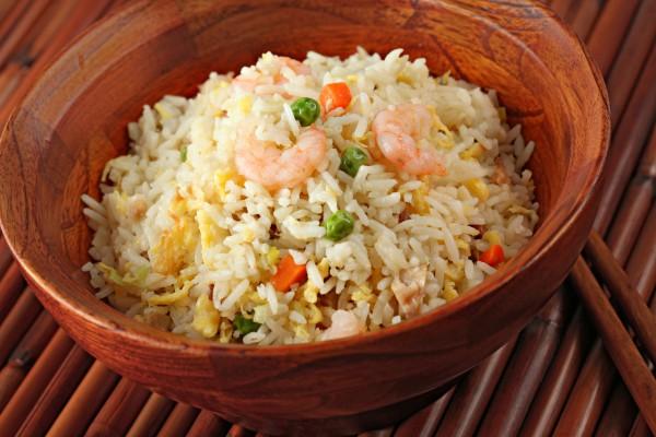 Рецепт                  Жареный рис с креветками
