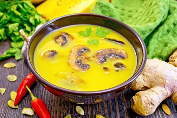 Рецепт                  Тыквенный суп с шампиньонами