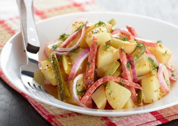 Рецепт Салат из молодого картофеля с ветчиной
