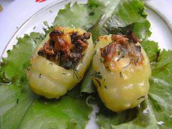 Рецепт                  Картофель, фаршированный грибами