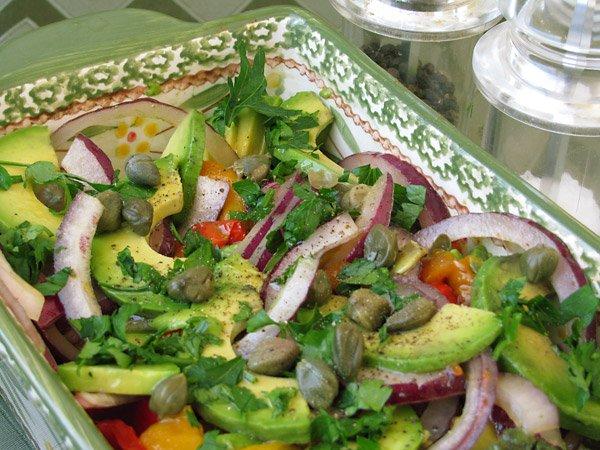 Рецепт                  Салат из болгарского перца и авокадо